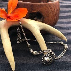 Brighton Silvertone Flower Pendant Necklace